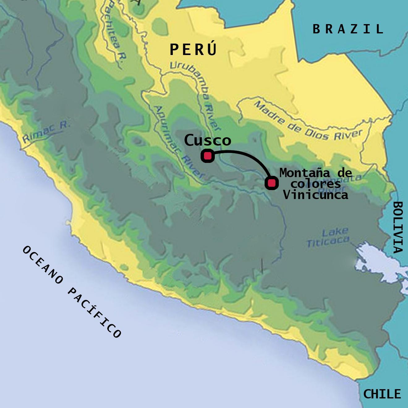 peru térkép Szivárvány hegy Peru térkép   Vinicunca Peru térkép (Dél Amerika  peru térkép